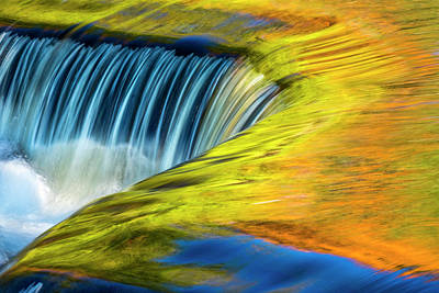 Colors Photograph - Usa, Michigan, Waterfall, Abstract by George Theodore