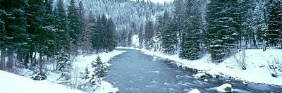 Gallatin River Photograph - Usa, Montana, Gallatin River, Winter by Panoramic Images