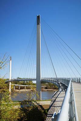 Pedestrian Bridge Photograph - Usa, Nebraska And Iowa by Christopher Reed