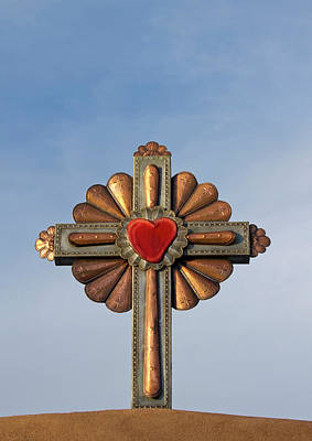 Chimayo Photograph - Usa, New Mexico, Chimayo, Gilded Cross by Luc Novovitch