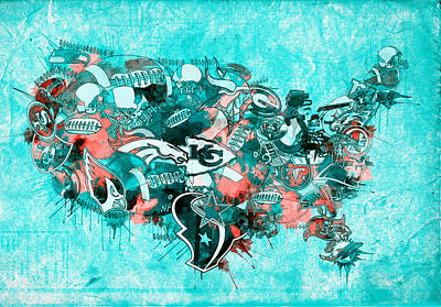 Abstract Digital Painting - Usa Nfl Map Collage 9 by Bekim Art