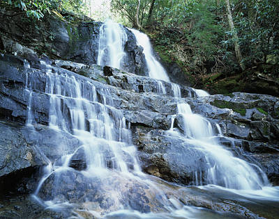 Usa, North Carolina, A Waterfall Art Print