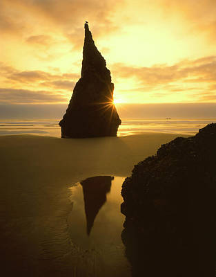 Wayside Photograph - Usa, Oregon, Bandon Beach, Sunset by Jaynes Gallery