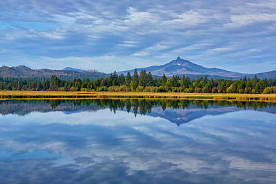Usa, Oregon Clouds Reflect In Small Art Print by Jaynes Gallery