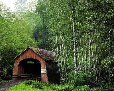 Usa, Oregon Covered Bridge Over North Art Print by Jaynes Gallery