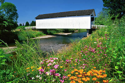 Usa, Oregon Gallon House Covered Bridge Art Print by Jaynes Gallery