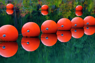 Carter Photograph - Usa, Oregon Orange Buoys Form Dam by Jaynes Gallery