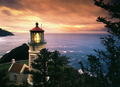 Usa, Oregon, View Of Heceta Head Art Print