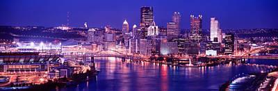Usa, Pennsylvania, Pittsburgh At Dusk Print by Panoramic Images