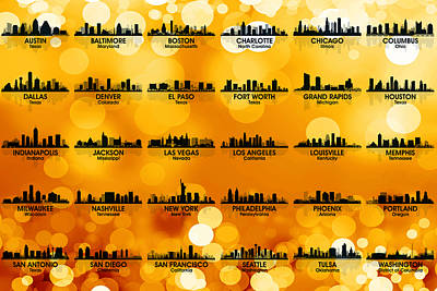 New York Skyline Mixed Media - Usa Skylines 3 by Angelina Vick