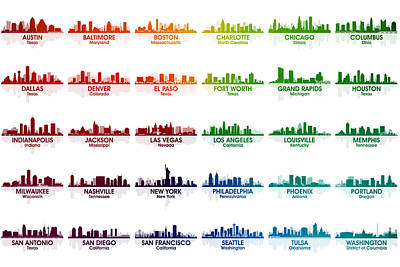 Digital Art - Usa Skylines by Angelina Vick