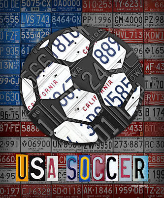 Recycle Mixed Media - Usa Soccer Recycled Vintage License Plate Art by Design Turnpike