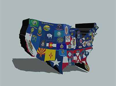 Usa States And Flags 5a Art Print