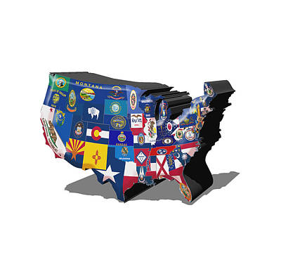 Usa States And Flags Art Print