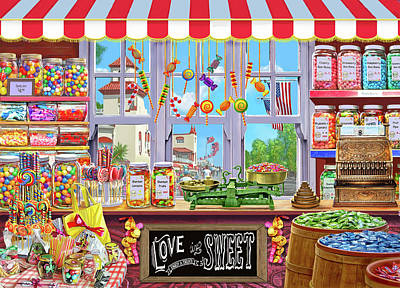Candy Jar Painting - Usa Sweetshoppe by Steve Crisp