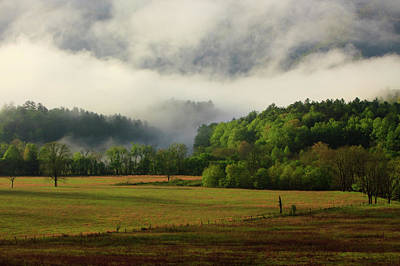 Usa, Tennessee, Foggy Morning At Cades Art Print by Joanne Wells