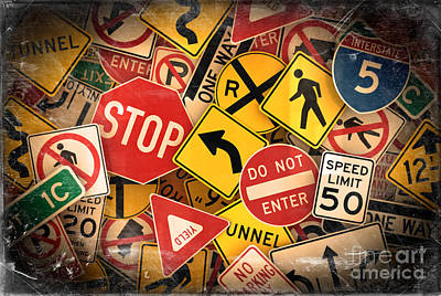 Art Print featuring the photograph Usa Traffic Signs by Carsten Reisinger