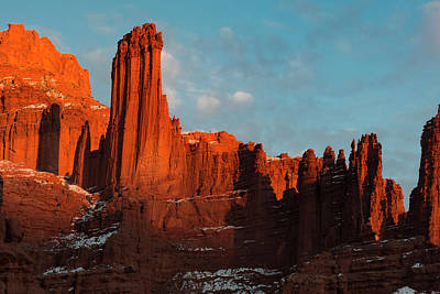 Judith Photograph - Usa, Utah Fisher Towers With Snow by Judith Zimmerman