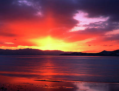 Great Salt Lake Photograph - Usa, Utah, Sunset Over Farmington Bay by Scott T. Smith