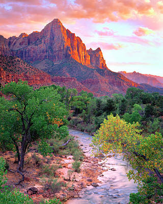 Usa, Utah, Zion National Park At Sunset Print by Jaynes Gallery