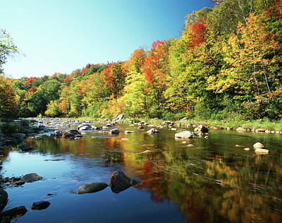 Deerfield Photograph - Usa, Vermont, Autumn Trees Reflected by Adam Jones
