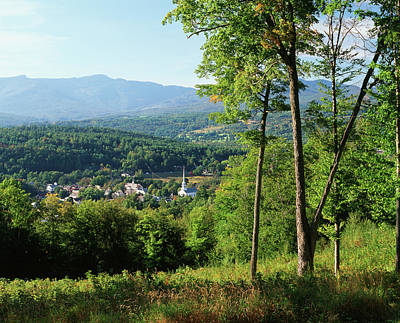 Usa, Vermont, Stowe, View Of Town Print by Walter Bibikow