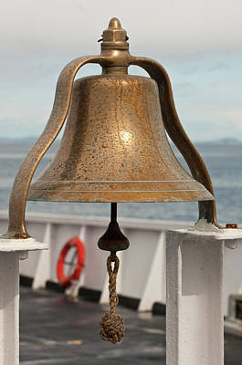 Juan De Fuca Photograph - Usa, Wa, Brass Ship Bell On Blackball by Trish Drury