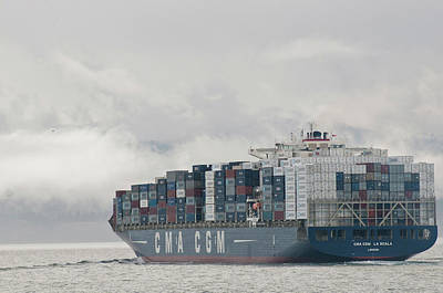 Juan De Fuca Photograph - Usa, Wa, Laden Container Ship Moves by Trish Drury