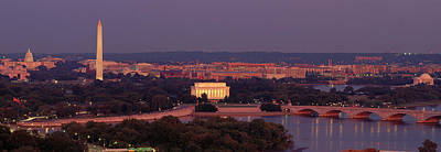 Washington Monument Photograph - Usa, Washington Dc, Aerial, Night by Panoramic Images