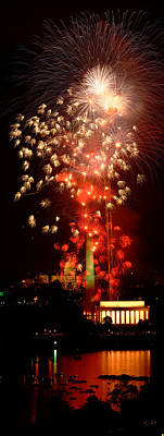 Washington Monument Photograph - Usa, Washington Dc, Fireworks by Panoramic Images