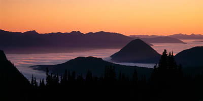 Mysterious Sunset Photograph - Usa, Washington, Mount Rainier National by Panoramic Images
