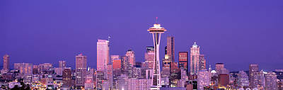 Usa, Washington, Seattle, Night Art Print by Panoramic Images