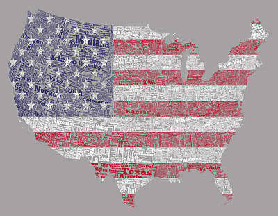 Mapping Mixed Media - Usa Word Cloud And American Flag by Brian Reaves