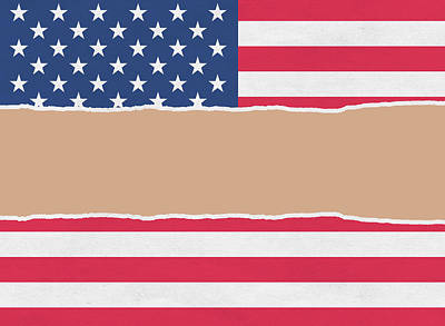 Usa Wrapping Paper Torn Through The Centre Art Print by Steve Ball