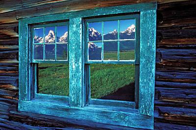 Cabin Window Photograph - Usa, Wyoming, Grand Teton National by Jaynes Gallery