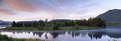 Oxen Photograph - Usa, Wyoming, Grand Teton Park, Ox Bow by Panoramic Images