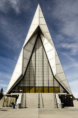 Photograph - Usafa Chapel Front Exterior by Alan Marlowe