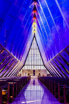 Photograph - Usafa Chapel Interior 1 by Alan Marlowe