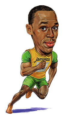 Comics Royalty-Free and Rights-Managed Images - Usain Bolt by Art