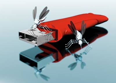 Usb Drive With Nano Bugs Art Print