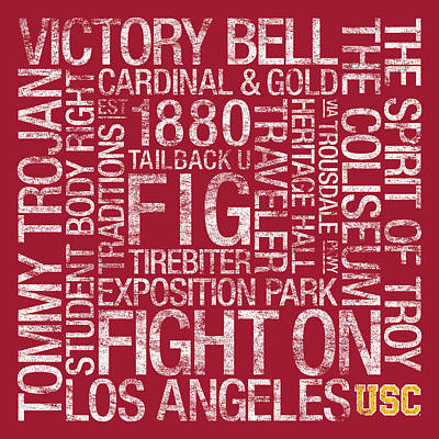College Campus Photograph - Usc College Colors Subway Art by Replay Photos