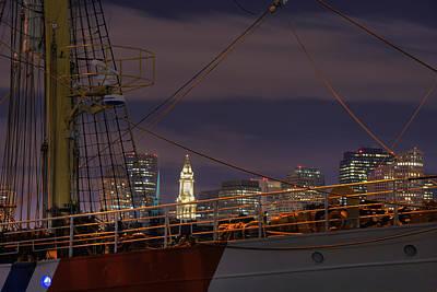 Photograph - Uscg Cutter Eagle And The Boston Skyline  by Joann Vitali