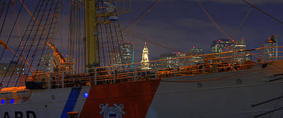 Patriotic Photograph - Uscg Cutter Eagle And The Boston Skyline Panoramic by Joann Vitali