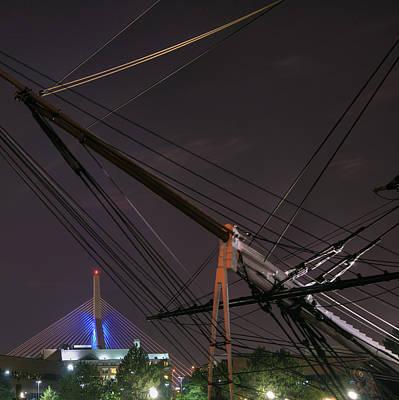 Photograph - Uscg Eagle Cutter And The Zakim Bridge - Boston by Joann Vitali