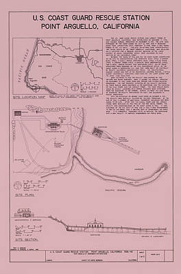 Coast Guard Drawing - Uscg Rescue Station Plan - Point Arguello California by Mountain Dreams