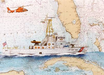 Patrol Painting - Uscg Sapelo Helicopter Fl Nautical Chart Map Art Peek by Cathy Peek