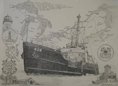 Duluth Drawing - Uscg Sundew by Kathleen Barlament