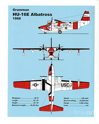 Coast Guard Drawing - U.s.coast Guard Gruman Hu-16e Albatross by Jerry McElroy - Public Domain Image