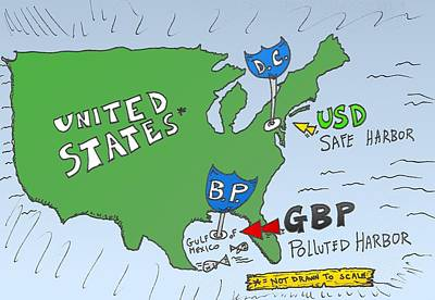 Editorial Cartoon Mixed Media - Usd Gbp Oil Spill Caricature by OptionsClick BlogArt