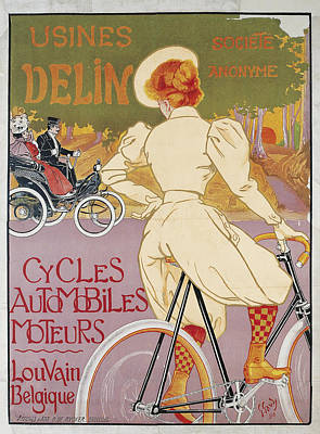 Bycicle Drawing - Usines Delin by Georges Gaudy